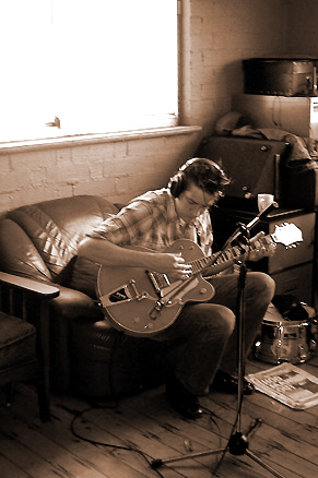 Jon recording acoustic overdubs - pic by Stuart